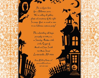 Halloween Haunted House Invitation Printable Download Print at Home