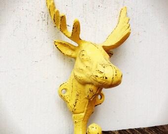 BOLD golden yellow MOOSE wall hook // coat towel key hooks // tribal boho chic CABIN decor // funky kitschy // shabby chic bohemian animal