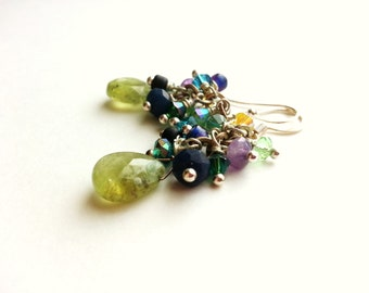 Special Occasion Earrings Teal Peacock Blue Peridot Moss Green Silver Cluster Dangle Gemstone Briolette Swarovski Crystals Elegant