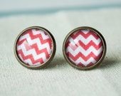 Red & White Chevron Antique Bronze Post Earrings