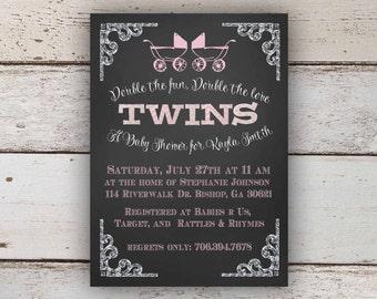 Chalkboard Twin Girl Baby Shower Invitation