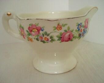 Vintage Shabby Creamer Cottage Chic Pink Rose Creamer Pitcher