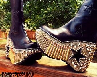 "Demonia Platform ""Apocalyptic Warfare"" Studded Spike Boots"