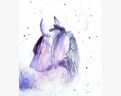 Horse Original watercolor, horse illustration abstract painting, blue lilac