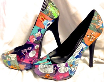 Ultra high Adventure Time with Finn and Jake Custom Comic Book Decoupage shoes -  Pumps