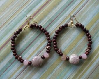 Hoop Earrings, Wood and Marbled Pink,Bead Earrings