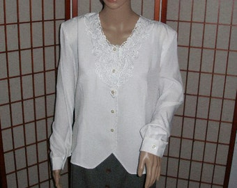 """Size large, White Embroidered Blouse, long sleeved, white, 19"""" under arm 6 button front at V, vintage, shirt"""