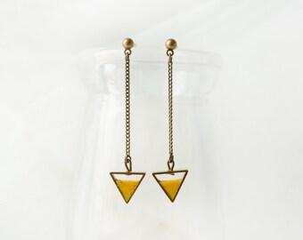 Crystal Mustard Triangle Earring