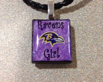 "Baltimore Ravens Inspired ""Ravens Girl"" Purple  Pendant Black Leather Necklace"