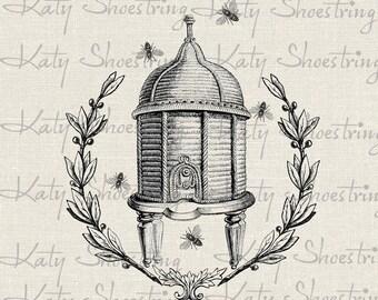 Vintage Bee Skep Bee Hive Wreath Image Illustration Download and Print Digital Sheet Image Transfer Burlap INSTANT DOWNLOAD