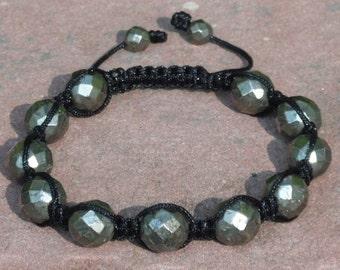 Pyrite Shamballa Macrame Bracelet