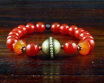 Carnelian Yoga Bracelet, Yoga Mala Bracelet, Yoga Jewelry, Meditation Bracelet, Wrist Mala, 2nd Chakra, Om Jewelry