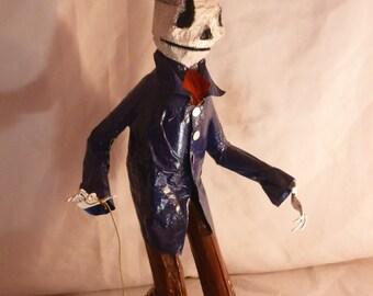 Dia de Los Muertos Skeleton Walking a Worm
