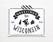Screenprinted State of Wisconsin Postcard