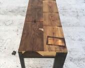 Reclaimed NYC Watertower Cedar and Steel Bench