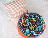 Incredibly beautiful original pillow set for kids Forest creatures Orange round pouf Black pillow forest animals Polka dot Amy Butler pillow