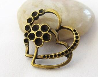 10pcs 27x32mm Antique Bronze Double Heart Connector Link Charm Pendants 2L78-27