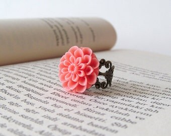 Coral Mum Flower Cabochon Ring - Antique Brass Filigree Adjustable Ring - Dahlia - Chrysanthemum
