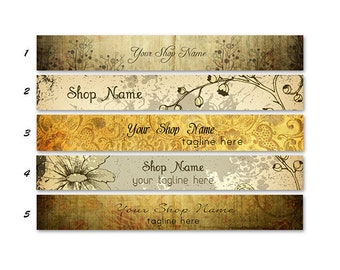 ETSY BANNER SET Vintage 2 Etsy Shop Banners and 2 Etsy Shop Avatars