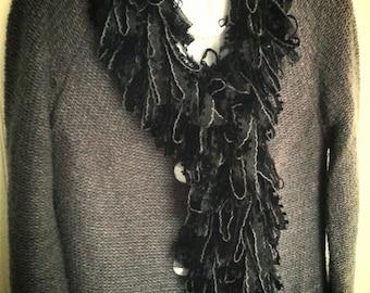 Loopy Scarf Boa, Black Lace Yarn...Handwashable...RARE!