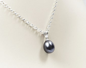 Black Pearl Pendant, Single Black Pearl Necklace, Bridesmaid Jewelry, Black Pearl Drop