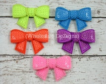 Neon Sequin Bow Appliques - Wholesale Bows - 5 Small Bows - Neon green, blue, orange, purple and pink