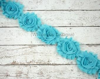 Robins Egg Blue Shabby Chic Chiffon Flowers -  1 Yard Wholesale Lot  - Frayed Vintage Rosettes - One Yard - Tornado Blue