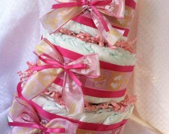 ADORABLE DIAPER CAKE - Baby Girl - 3 tier handmade diaper cake Pink Little Hands