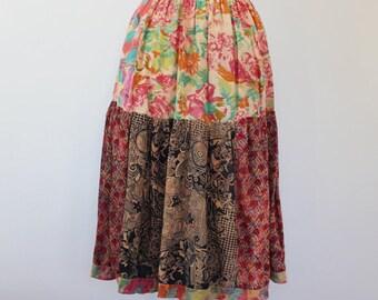 80s vintage floral patchwork skirt, boho, earthtones - Small