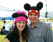 Minnie or Mickey Mouse inspired beanie ear hat crochet handmade