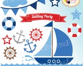 INSTANT DOWNLOAD Digital ClipArt Border Label Bunting Nautical Ocean Sea colors waves Clip art Embellishments Blue Elements images pf00029-5