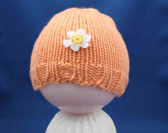 Baby Beanie Hat with flowers - peach melon cantaloupe toque - infant toddler child, RTS