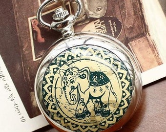 1pcs 45mmx45mm silver color elephant  pocket watch charms pendant PW185