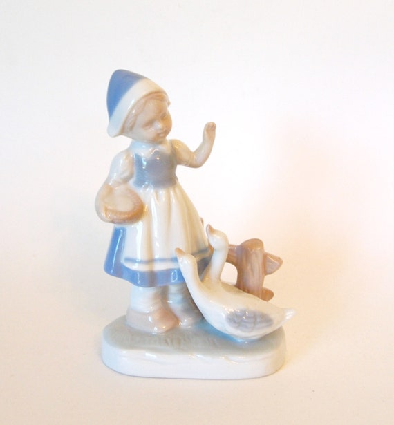 Vintage Lego Lladro Style Blue And White Little Dutch Girl