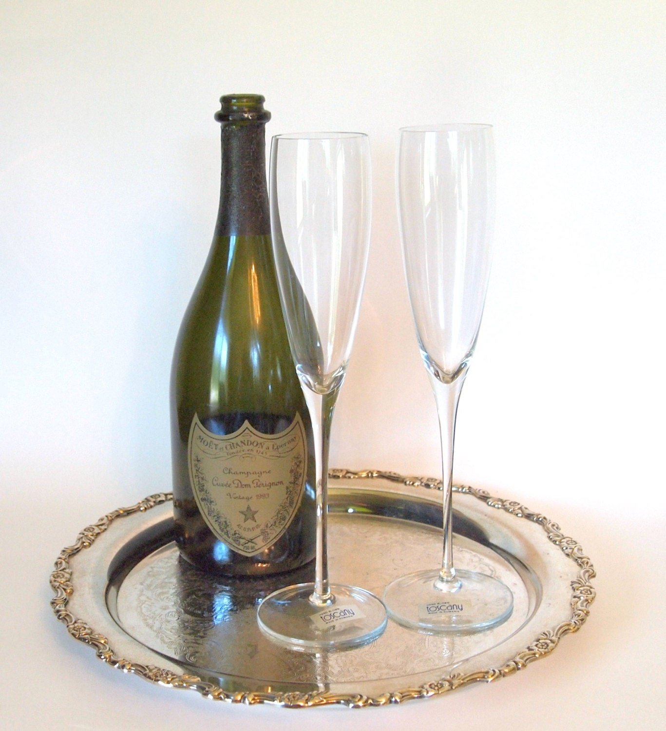 Vintage toscany hand blown crystal champagne by houseoflucien - Hand blown champagne flutes ...