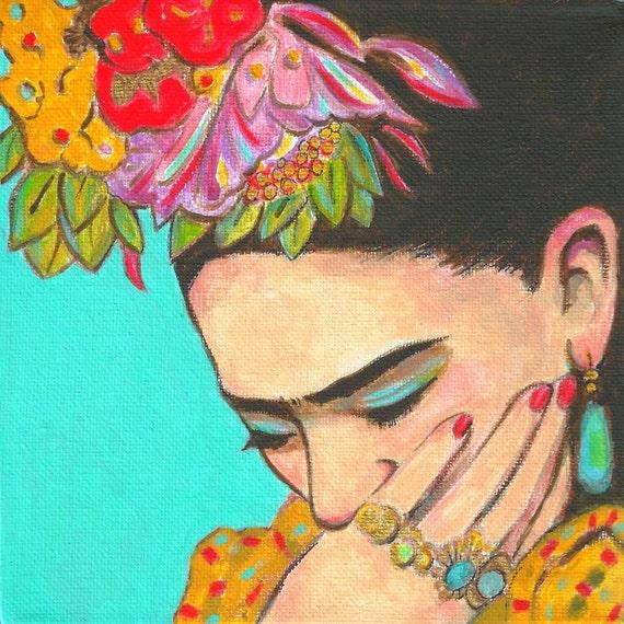 sale 50 off frida kahlo thinks signed print by karenharingart. Black Bedroom Furniture Sets. Home Design Ideas