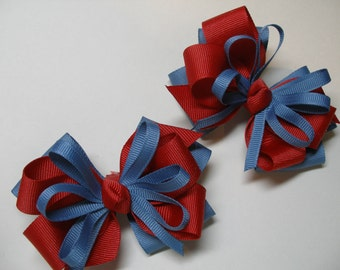 Back to Shool Hair Bows Pig Tail Pair Chambray Blue USA Red School UNIFORM Toddler Girl Grosgrain set of 2