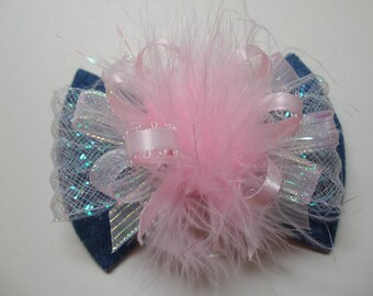 Denim Tuxedo Fabric Hair Bow Over the Top Pink  Iridescent Glitz Glam Unique Boutique Toddler Girl