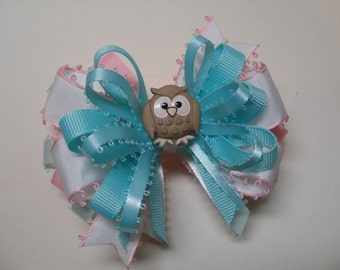 Hair Bow Hoot Owl Pink White Polka Dot Aqua Blue Boutique Toddler Girl Unique Novelty Layered Grosgrain Handmade Gingham check