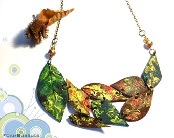 Autumn Necklace. Leather Leaves Necklace. Statement Necklace with hand painted leather leafs. Fall Necklace. Autumn Leaves Necklace.