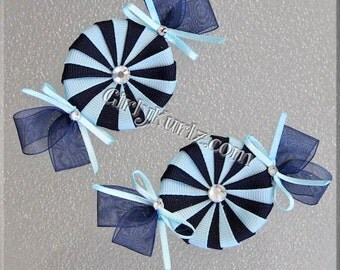 Peppermint Candy Hair Clips, Candy Hair Bows, Candy Hair Clips, Navy & Blue Ribbon Sculpture Hair Clip, Hair Bows for Girls