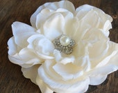 Ivory   color    flower  clip  4.5 inch wide