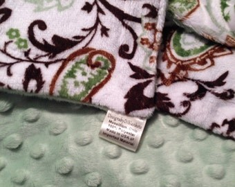 Adult Throw Blanket,Green PaisleyThrow , Adult Minky Blanket,Sage Minky Blanket, Men's Blanket, Couch Throw, Adult Size Blanket   50 x 60 in
