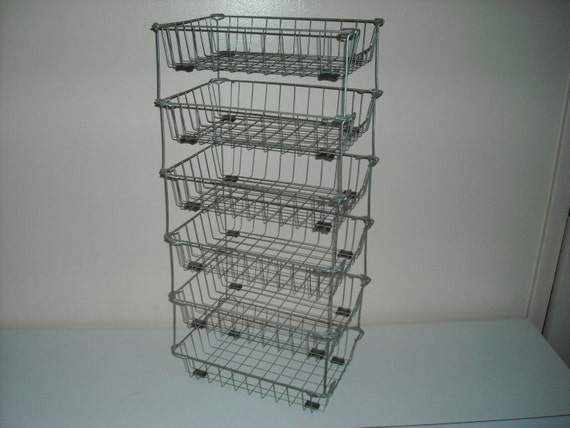 Set Of 6 Stacking Metal Wire File Baskets Mid Century Modern