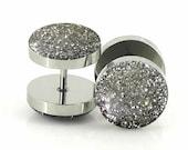 Sterling Silver Glitter Fake Plugs - 18g Fake 7mm,12mm,14mm