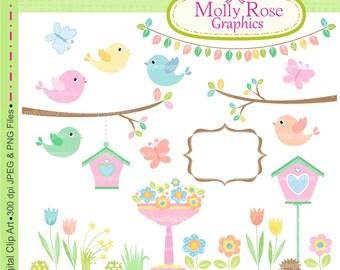 summer birds Digital Clip Art,  M.61 Summer Garden, butterfly,cute,flowers,bird clip art,invites,Scrapbooking