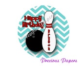 "20 - 2"" round Personalized PRINTED bowling birthday sticker teal chevron bowling favor stickers"