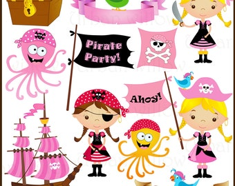 Pirate Girl- Png & Jpeg clip art images.
