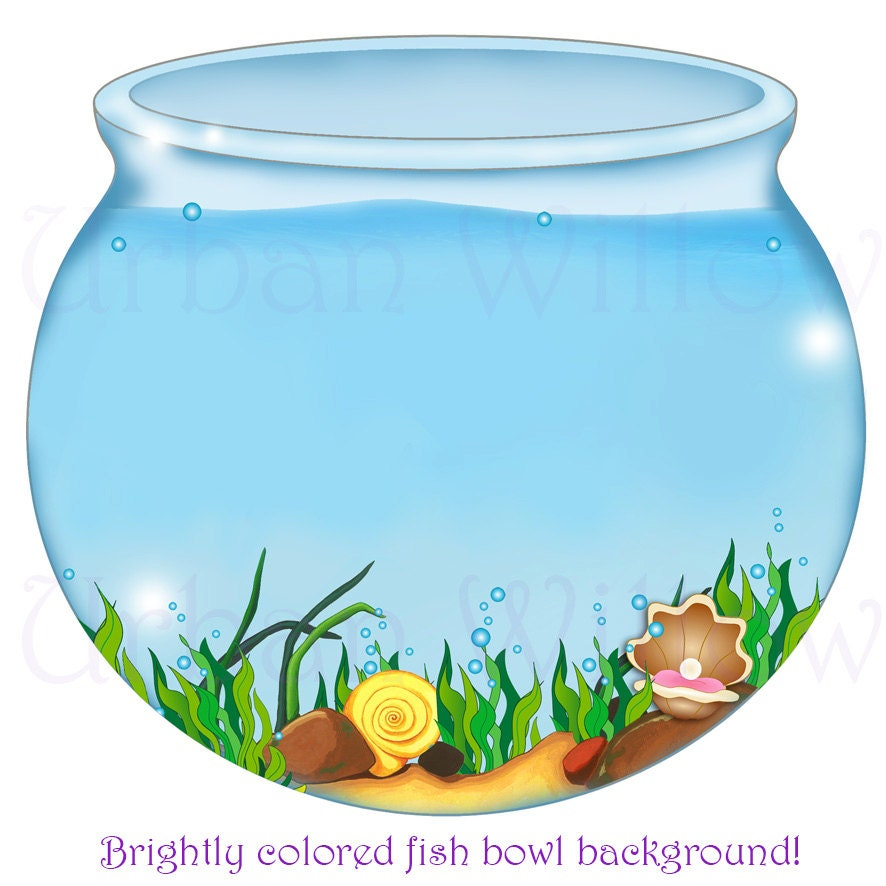 Fish bowl image digital backgrounds mermaid clipart digital for Fish in a bowl