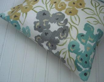 Blue Teal  PILLOW SALE..Lumbar.12x16, 12x18  Decorator Lumbar Pillow Cover.Travel Pillow.Printed Fabric Front and Back.Home Decor